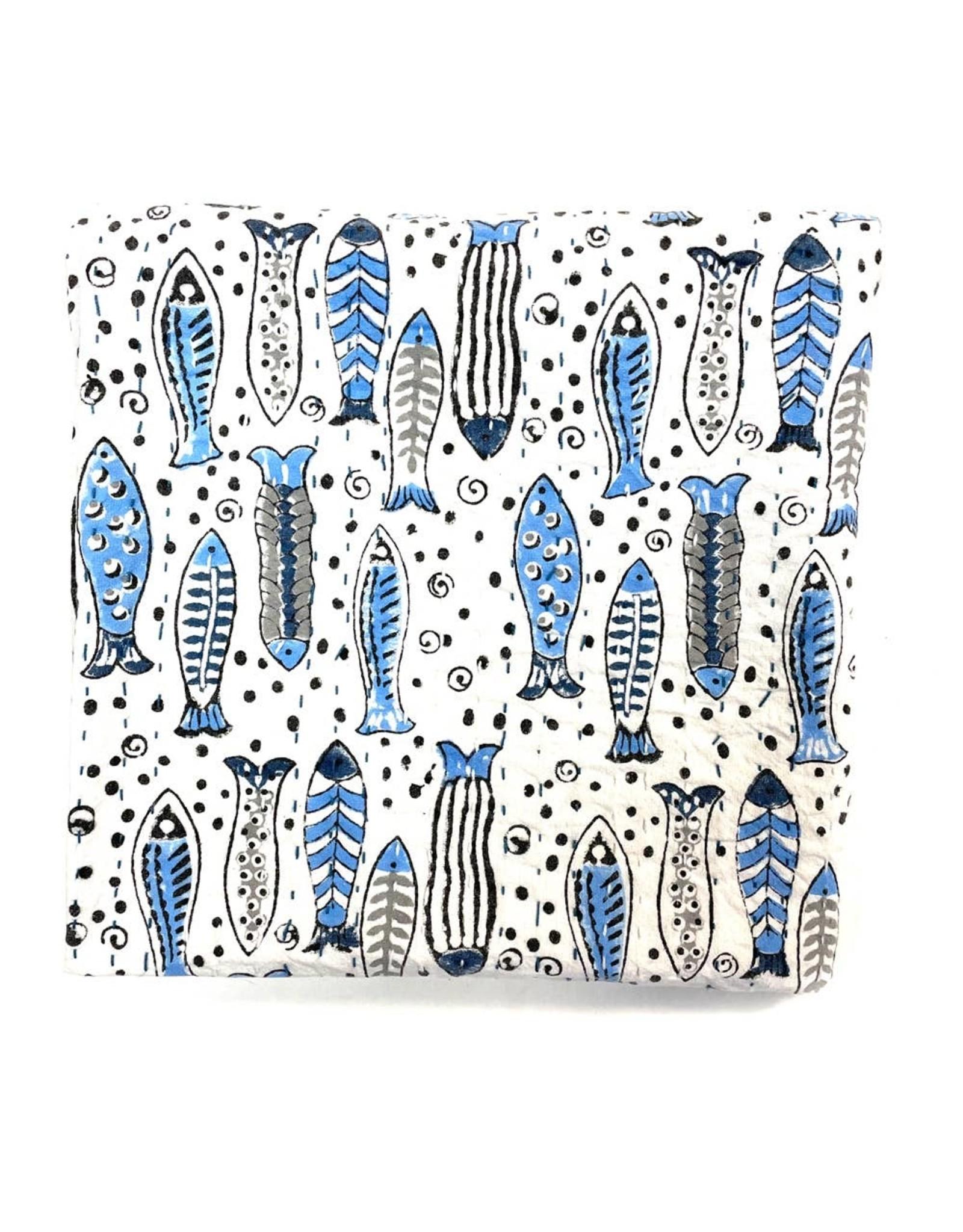 Mira Fair Trade Baby Block Printed Kantha Quilt - Fish Print