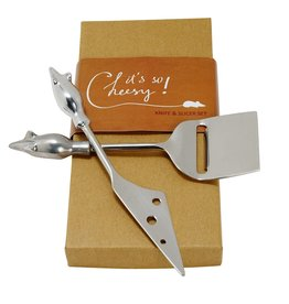 Ten Thousand Villages Two Mice Cheese Serving Set