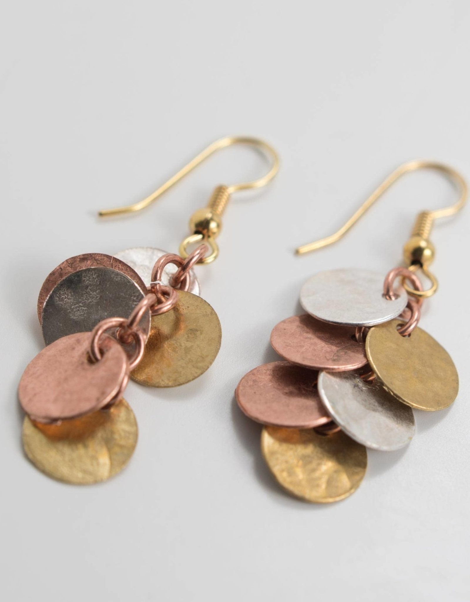 Ten Thousand Villages Mixed Metal Cluster Earrings