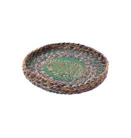 "Ten Thousand Villages Stitched Sari Fabric Tray - 10"""