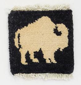 Bunyaad Pakistan Buffalo Mug Rug - Ivory on Black