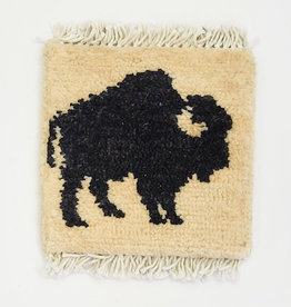Bunyaad Pakistan Buffalo Mug Rug - Black on Ivory