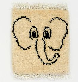 Bunyaad Pakistan Elephante on Ivory Mug Rug