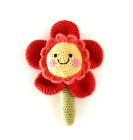 Pebble Flower Rattle - Friendly Red