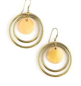 Fair Anita Classic Circles Upcycled Horn Earrings - Brass