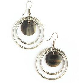 Fair Anita Classic Circles Upcycled Horn Earrings - Silver