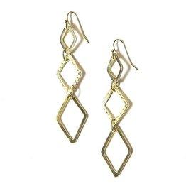 Fair Anita Diamond Drop Earrings - Brass