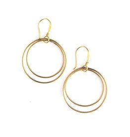 Fair Anita Double Moon Earrings - Brass