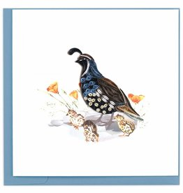 Quilling Card Quilled Quail & Chicks Greeting Card