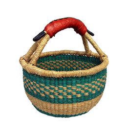 African Market Baskets Mini Round Basket (leather handle)