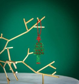 Lucia's Imports Green Red Tree Flat Ornaments
