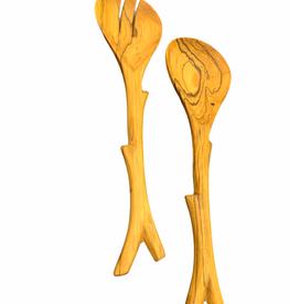 """Harkiss Designs 12"""" Olive Wood Branch Salad Set"""
