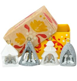 Lucuma Designs Mini Nativity Alabaster Ornaments Set of 4