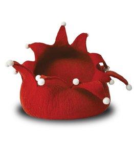Dharma Dog Karma Cat Holiday Petal Wool Pet Basket - Medium Red