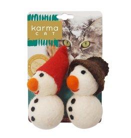 Dharma Dog Karma Cat Snowman Wool Cat Toy - Pack of 2