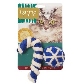 Dharma Dog Karma Cat Blue Holiday Ball and Cane Wool Cat Toy - Pack of 2