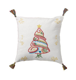 Serrv Embroidered Christmas Tree Pillow