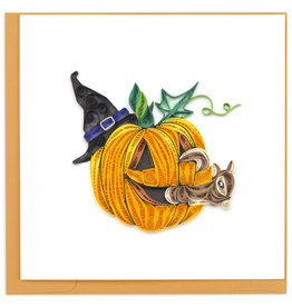 Quilling Card Quilled Squirrel in Jack-o'-lantern Halloween Card