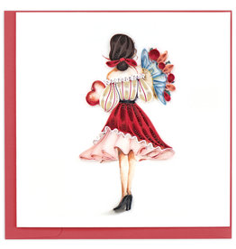 Quilling Card Quilled Girl with Bouquet Greeting Card