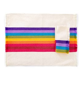 Nativa Striped Woven Placemat | Rainbow