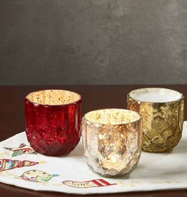Serrv Gold Holiday Glass Candle Holder