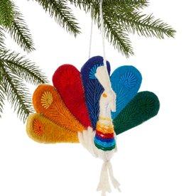 Silk Road Bazaar Peacock Ornament - Rainbow Pride