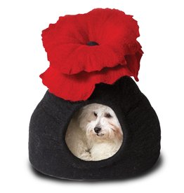 Dharma Dog Karma Cat Bouquet Cave, Black & Red