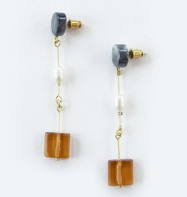 Mata Traders Cubist Dangle Earrings Amber