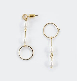 Mata Traders Parallel Pearl Earrings Gold