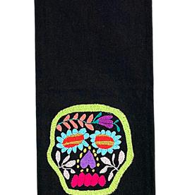 Nativa Skull Embroidered Tea Towel - Black/Multi