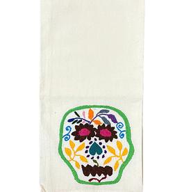 Nativa Skull Embroidered Tea Towel - Natural