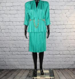 Michael B Ltd.: Green Pleated Skirt Suit