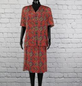 Lady Carol: Red Paisley Skirt Set