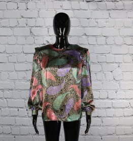 Tess: 1970's Vintage Colorful Polyester Blouse for Gals