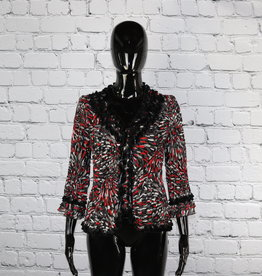 Choices: 1980's Vintage Black and Red Blouse with Ruffles for Gals