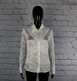 Carrie Allen: 1980's Vintage White Blouse with Sequin Detailing for Gals