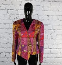 George Simonton: 1980's Vintage Cross Over Multi-Color Blazer for Gals