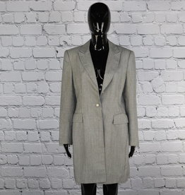 Emily: 1970's Vintage Long Black and White Blazer with Pearl Buttons for Gals