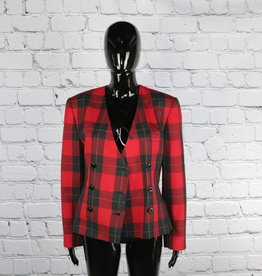 Kim Rogers: Vintage Red and Black Double Breasted Blazer for Gals