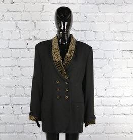 Kasper for A.S.L.: 1980's Vintage Black Blazer with Cheetah Print Detailing for Gals