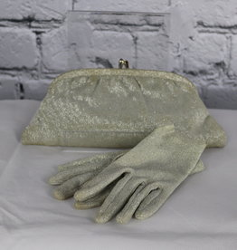 Unknown Brand: Vintage Silver Metallic Clutch and Gloves for Gals