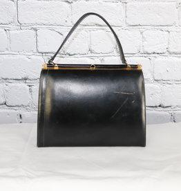 Unknown Brand: Vintage Black Leather Box Pocketbook