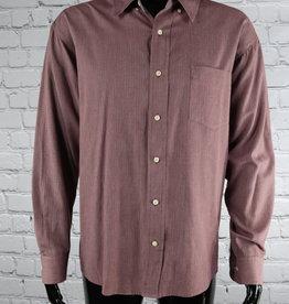 Saddlebred: 1990's Vintage Burgundy Casual Shirt with Denim Lining for Guys