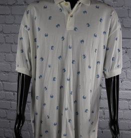 Nautica: 1990's Vintage Blue and White Polo with Crab Decor for Guys