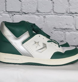 Converse: Mid-Vintage Green, White and Silver High Top Kicks for Guys