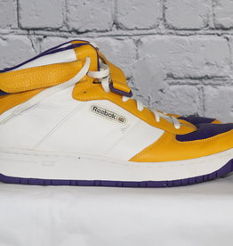 Reebok: Mid-Vintage Gold, Purple and White High Top Sneakers for Guys