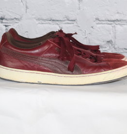 Puma: Mid-Vintage Burgundy Low Top Sneakers with Suede Detailing for Guys