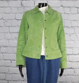 Bamboo Traders: 1970's-1980's Vintage Solid Lime Green Leather Jacket with White Threading for Gals