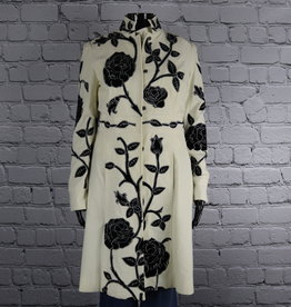 Newport News: 1980's Vintage White Pea Coat with Black Floral Design for Gals