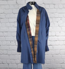 Landers & Co.: 1980's Vintage Navy Coat with Brown Plaid Lining for Gals
